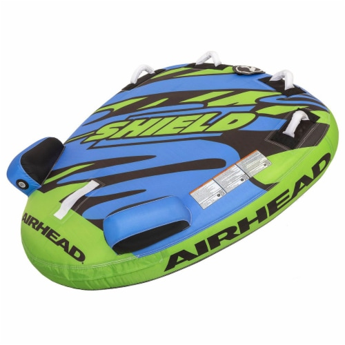 Airhead AHSH-T1 Shield Single Person Towable Inflatable Water Tube w/ 4 Handles Perspective: front