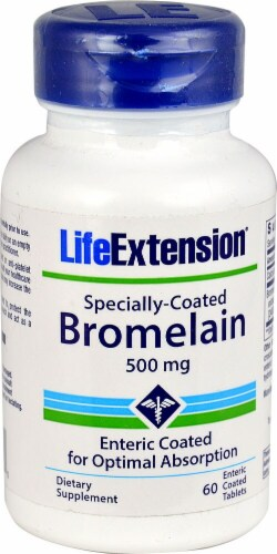 Life Extension Specially-Coated Bromelain Enteric Coated Tablets 500mg Perspective: front