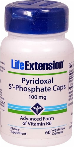 Life Extension Pyridoxal 5'-Phosphate Caps Vegetarian Capsules 100 mg Perspective: front