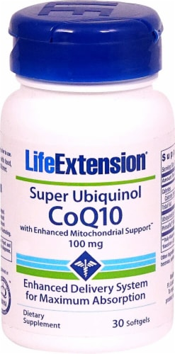 Life Extension  Super Ubiquinol CoQ10 with Enhanced Mitochondrial Support™ Perspective: front