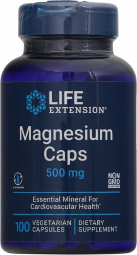 Life Extension Magnesium Caps 500mg Perspective: front