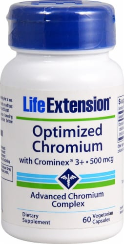 Life Extension Optimized Chromium with Crominex® 3+ 500mcg Perspective: front
