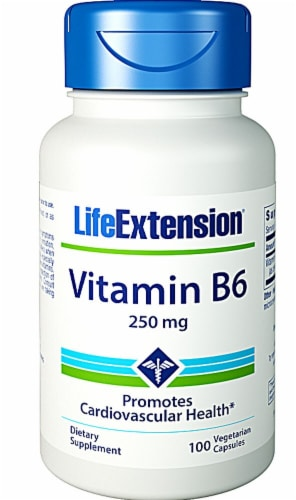 Life Extension Vitamin B6 Vegetarian Capsules 250mg Perspective: front