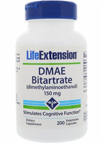 Life Extension DMAE Bitartrate 150mg Perspective: front