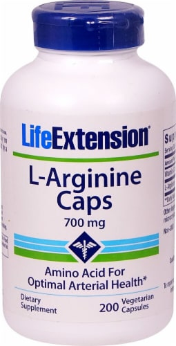 Life Extension L-Arginine Vegetarian Capsules 700mg Perspective: front