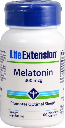 Life Extension Melatonin Vegetarian Capsules 300mcg Perspective: front