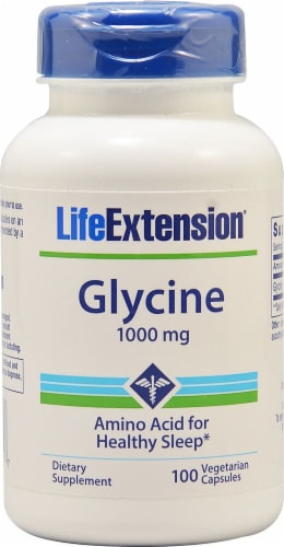 Life Extension Glycine Vegetarian Capsules 1000 mg Perspective: front
