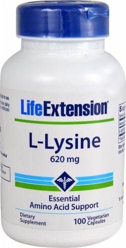 Life Extension L-Lysine Vegetarian Capsules 620mg Perspective: front