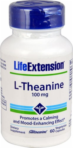 Life Extension L-Theanine Vegetarian Capsules 100 mg Perspective: front