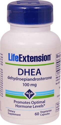 Life Extension DHEA Vegetarian Capsules 100 mg Perspective: front