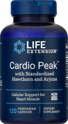 Life Extension Cardio Peak™ with Standardized Hawthorn and Arjuna 120 Count Perspective: front