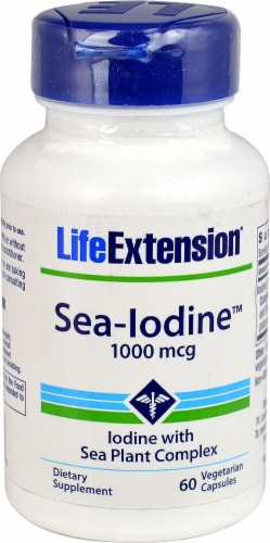 Life Extension Sea Iodine Vegetarian Capsules 1000mcg Perspective: front