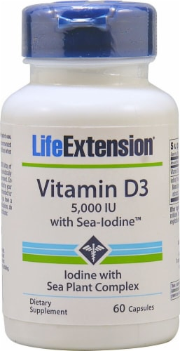 Life Extension Vitamin D3 with Sea Iodine Capsules 5000 IU Perspective: front