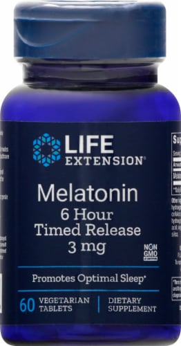 Life Extension Melatonin Vegetarian Tablets 3mg Perspective: front