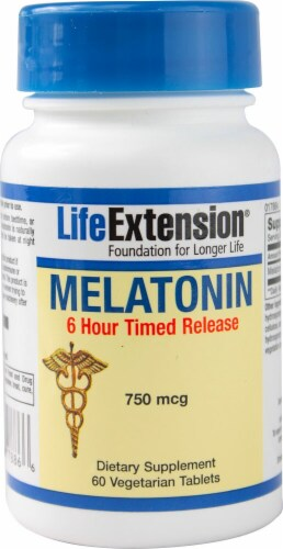 Life Extension Melatonin 6 Hour Timed Release Caplets 750mcg Perspective: front