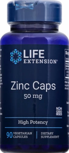 Life Extension Zinc Caps 50mg Perspective: front