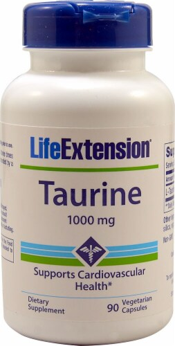 Life Extension Taurine Vegetarian Capsules 1000 mg Perspective: front