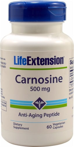 Life Extension Carnosine Vegetarian Capsules 500mg Perspective: front