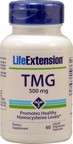 Life Extension TMG Vegetarian Capsules 500mg Perspective: front