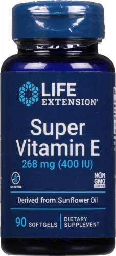 Life Extension Natural Vitamin E Dietary Supplement Softgels 268mg Perspective: front