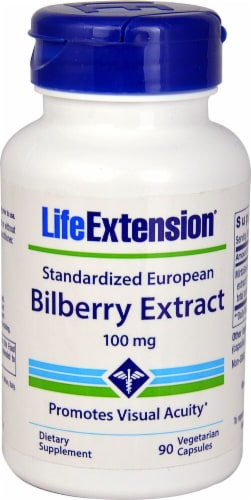 Life Extension Bilberry Extract Vegetarian Capsules 100mg Perspective: front