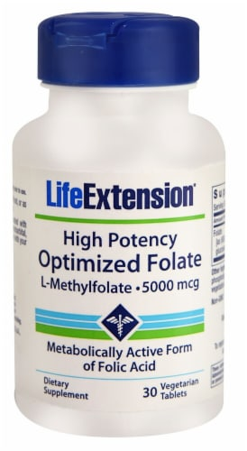 Life Extension Optimized Folate L-Methylfolate Capsules 5000mcg Perspective: front