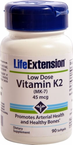 Life Extension Low Dose Vitamin K2 Softgels 45mcg Perspective: front