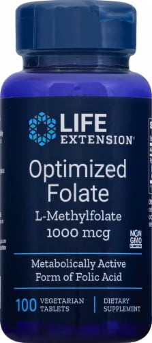 Life Extension Optimized Folate L-Methylfolate Vegetarian Tablets 1000 mcg Perspective: front