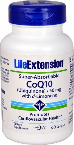 Life Extension  Super-Absorbable CoQ10 Ubiquinone with d-Limonene Perspective: front