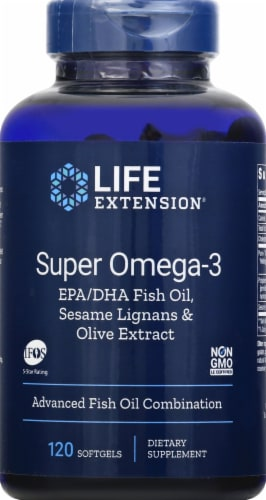 Life Extension Super Omega-3 Advanced Fish Oil Combination Softgels Perspective: front