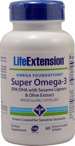 Life Extension  Omega Foundations™ Super Omega-3 EPA-DHA Softgels Perspective: front