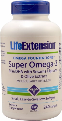 Life Extension  Super Omega-3 EPA-DHA with Sesame Lignans & Olive Extract Perspective: front