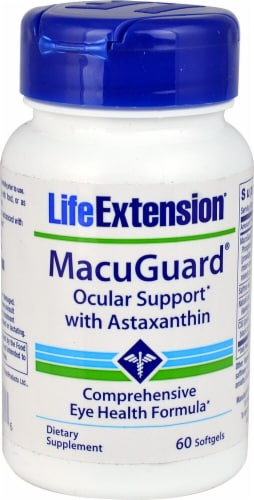 Life Extension MacuGuard Ocular Support with Astaxanthin Softgels Perspective: front