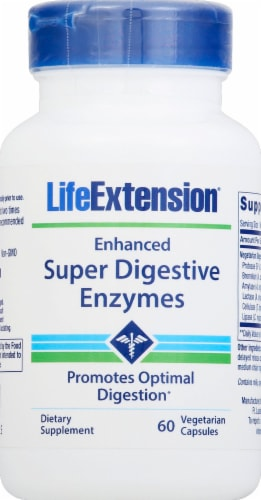 Life Extension Enhanced Super Digestive Enzymes Vegetarian Capsules 140mg 60 Count Perspective: front