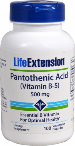 Life Extension Pantothenic Acid Vitamin B-5 Vegetarian Capsules 500mg Perspective: front