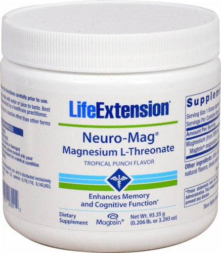 Life Extension  Neuro-Mag™ Magnesium L-Threonate   Tropical Punch Perspective: front