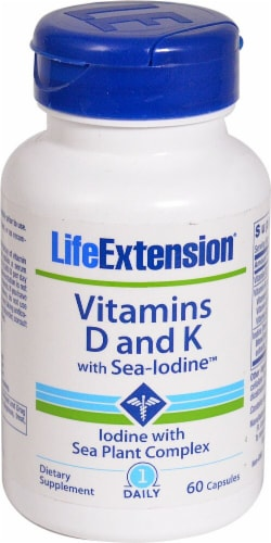 Life Extension Vitamins D and K with Sea-Iodine Capsules Perspective: front