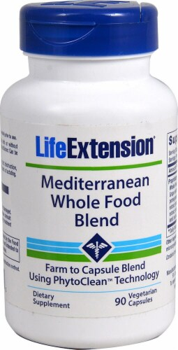 Life Extension Mediterranean Whole Food Blend Vegetarian Capsules Perspective: front