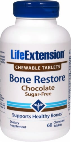 Life Extension Chocolate Bone Restore Chewable Tablets Perspective: front