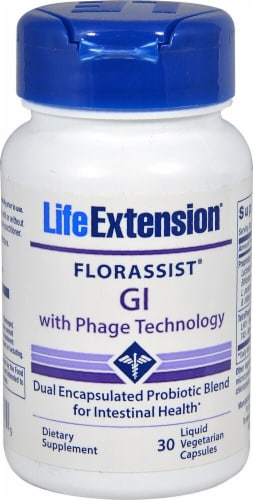Life Extension  Florassist® GI with Phage Technology Vegetarian Capsules Perspective: front