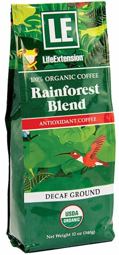 Life Extension  Organic Rainforest Blend Coffee Decaf Ground Perspective: front