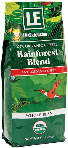 Life Extension  Organic Rainforest Blend Coffee Whole Bean Perspective: front