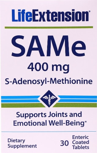 Life Extension SAMe S-Adenosyl-Methionine Tablets 400mg Perspective: front