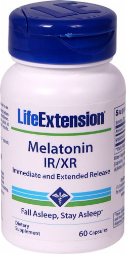 Life Extension Melatonin IR-XR Capsules Perspective: front