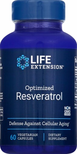 Life Extension Optimized Resveratrol Vegetarian Capsules Perspective: front