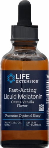Life Extension Citrus-Vanilla Flavor Fast-Acting Liquid Melatonin Supplement Perspective: front