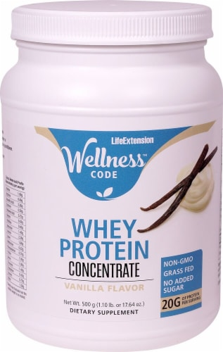 Life Extension Wellness Code Vanilla Whey Protein Concentrate Powder Perspective: front