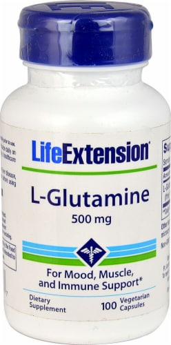 Life Extension L-Glutamine Vegetarian Capsules 500mg Perspective: front