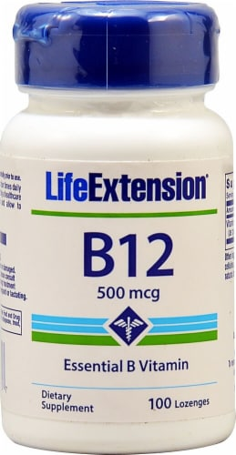 Life Extension Vitamin B12 500mcg Lozenges Perspective: front
