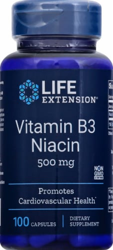 Life Extension Vitamin B3 Niacin Capsules 500mg Perspective: front